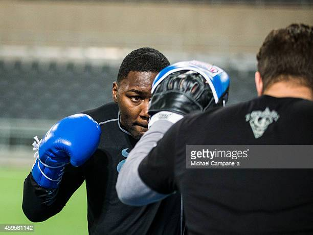 UFC fighter Anthony Johnson participates in a training session at the Tele2 Arena on November 25 2014 in Stockholm Sweden