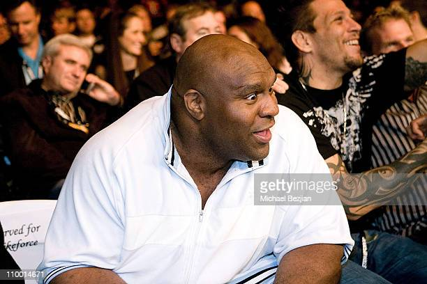 Fighter Bob Sapp looks on at the Mixed Martial Arts Fight event at The Playboy mansion on September 29 2007 in Beverly Hills California