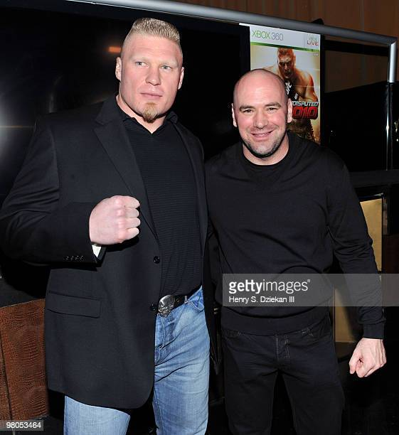 Fighter Brock Lesnar and UFC President Dana White attend the premiere of ''UFC Undisputed 2010'' at M2 Ultra Lounge on March 25 2010 in New York City