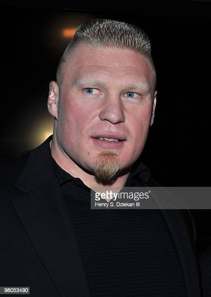Fighter Brock Lesnar attends the premiere of ''UFC Undisputed 2010'' at M2 Ultra Lounge on March 25 2010 in New York City