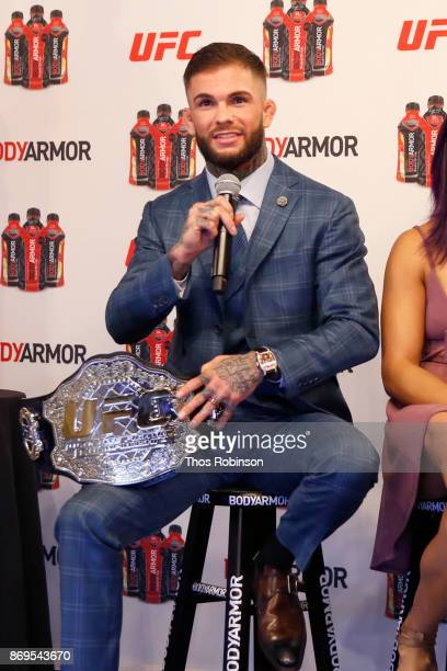 Fighter Cody Garbrandt speaks onstage during a new partnership announcement by Kobe Bryant and BODYARMOR Sports Drink with four UFC fighters and the...