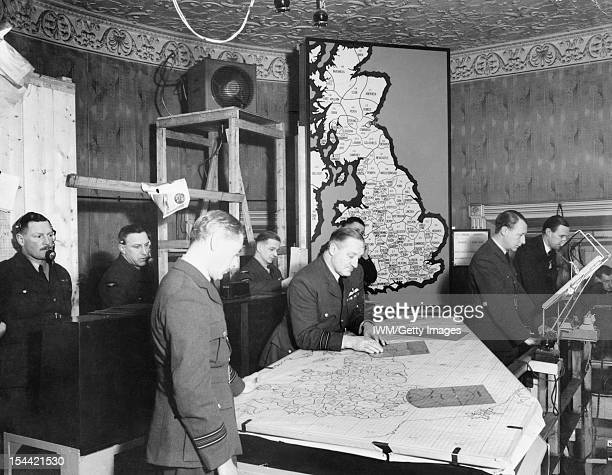 RAF Fighter Command 1940 The temporary Filter Room set up at Fighter Command HQ at Bentley Priory Stanmore Middlesex 14 February 1940 This was in use...