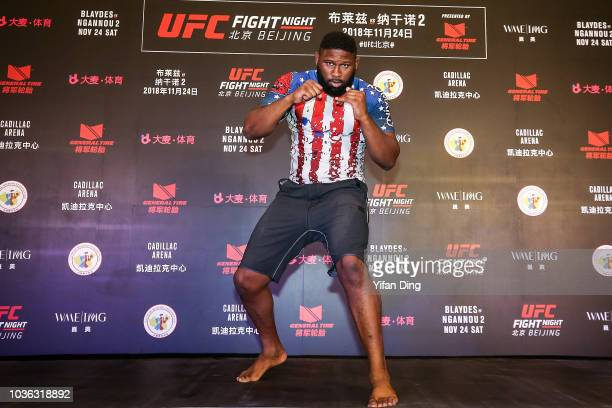 UFC fighter Curtis Blaydes in action during workout presetation session of UFC Fight Night Beijing OnSale press conference at W hotel on September 20...