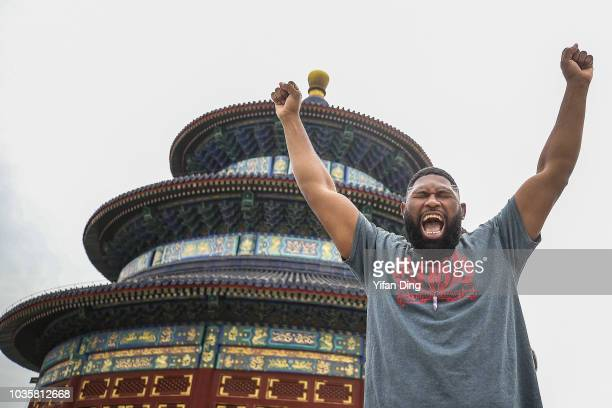 UFC fighter Curtis Blaydes of the United States poses for photo during UFC Fight Night Beijing Athlete Tour at Temple of Heaven on September 19 2018...