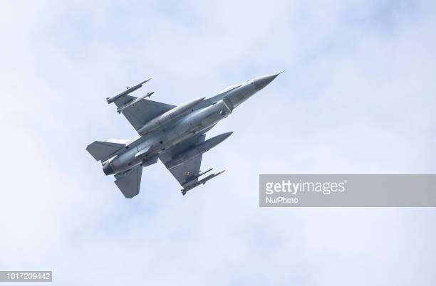 F16 fighter durning military parade in Warsaw on the day of the Polish army 15 August Warsaw Poland