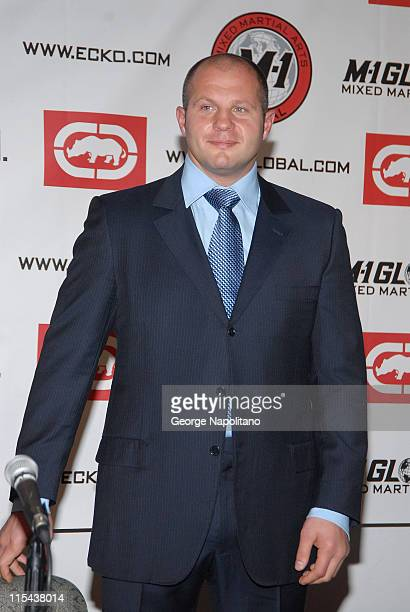 MMA fighter Fedor Emelianenko announces that he has signed a 2 year contract with M1 Global during a press conference at Marc Ecko Enterprises on...