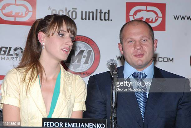MMA fighter Fedor Emelianenko announces through his interperter that he has signed a 2 year contract with M1 Global during a press conference at Marc...