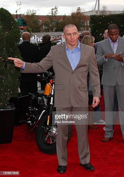 Fighter George St Pierre arrives at the UFC on FOX live Heavyweight Championship fight at Honda Center on November 12 2011 in Anaheim California
