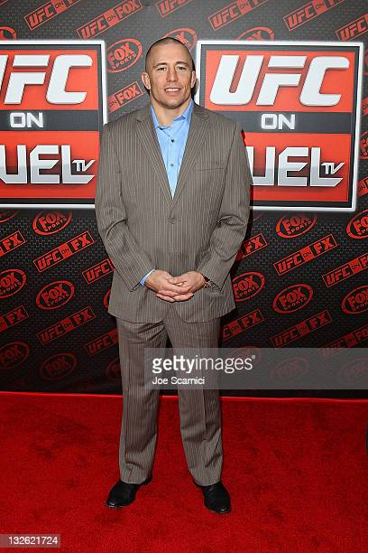 Fighter George St Pierre arrives at UFC On FOX Live Heavyweight Championship at Honda Center on November 12 2011 in Anaheim California