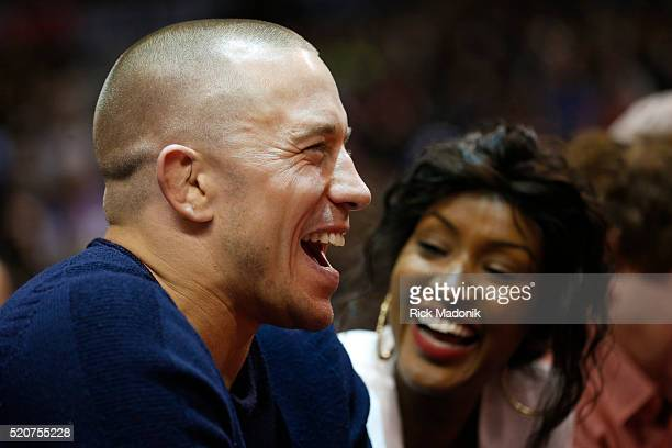 MMA fighter George St Pierre Toronto Raptors vs Philadelphia 76ers in 2nd half action of the final home game of the 2016 NBA regular season at the...