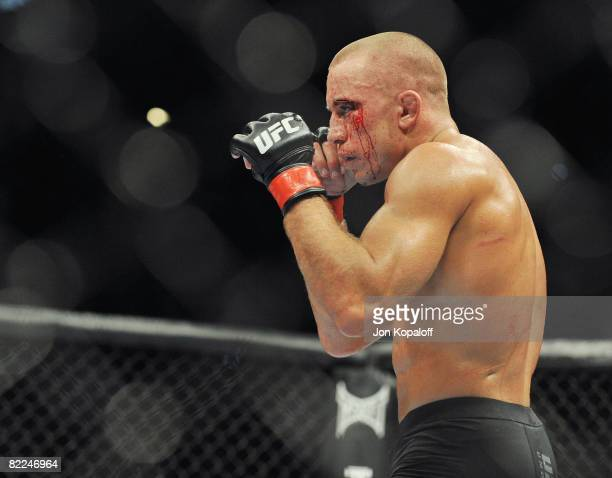 UFC fighter Georges StPierre during the UFC 87 Seek and Destroy at the Target Center on August 9 2008 in Minneapolis Minnesota