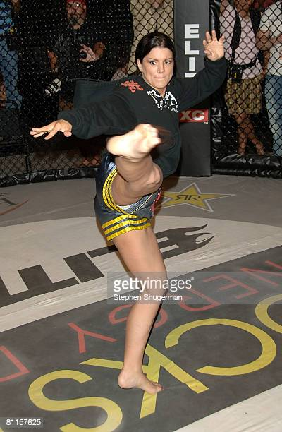 """Fighter Gina Carano demonstrates MMA fighter techniques at CBS's """"Elite XC Saturday Night Fights"""" Press Conference at CBS Radford Studios on May 19,..."""