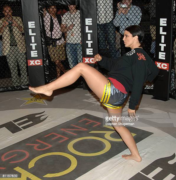 MMA fighter Gina Carano demonstrates MMA fighter techniques at CBS's Elite XC Saturday Night Fights Press Conference at CBS Radford Studios on May 19...