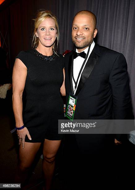 UFC fighter Holly Holm and Roc Nation CEO Jay Brown attend Roc Nation Sports Golden Boy Promotions Miguel Cotto Promotions And Canelo Promotions...