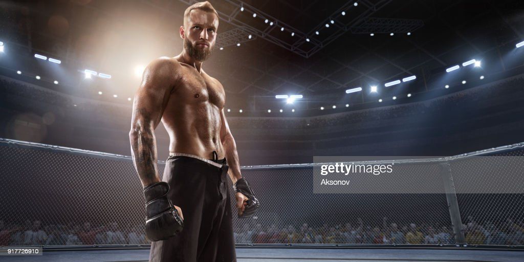 MMA fighter in professional boxing ring : Stock Photo