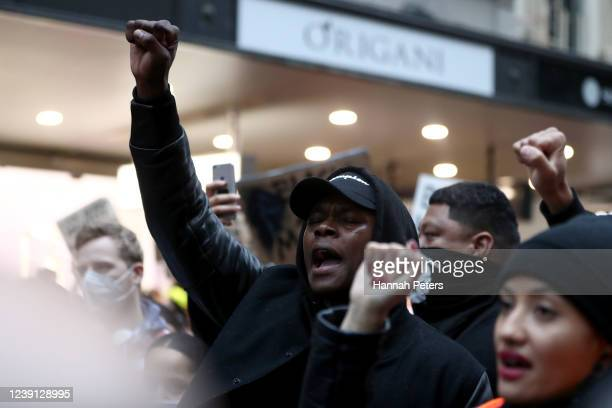 UFC fighter Israel Adesanya joins in the protest down Queen Street on June 01 2020 in Auckland New Zealand The rally was organised in solidarity with...
