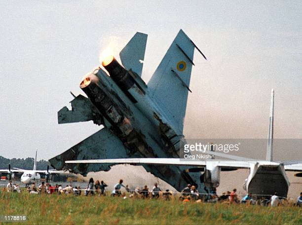 SU27 fighter jet crashes into a crowd of spectators at an air show July 27 2002 in Lviv Ukraine The two crewmen ejected and survived but at least 83...