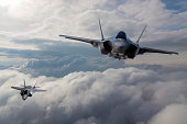 F-35 Fighter Jet flying over the clouds