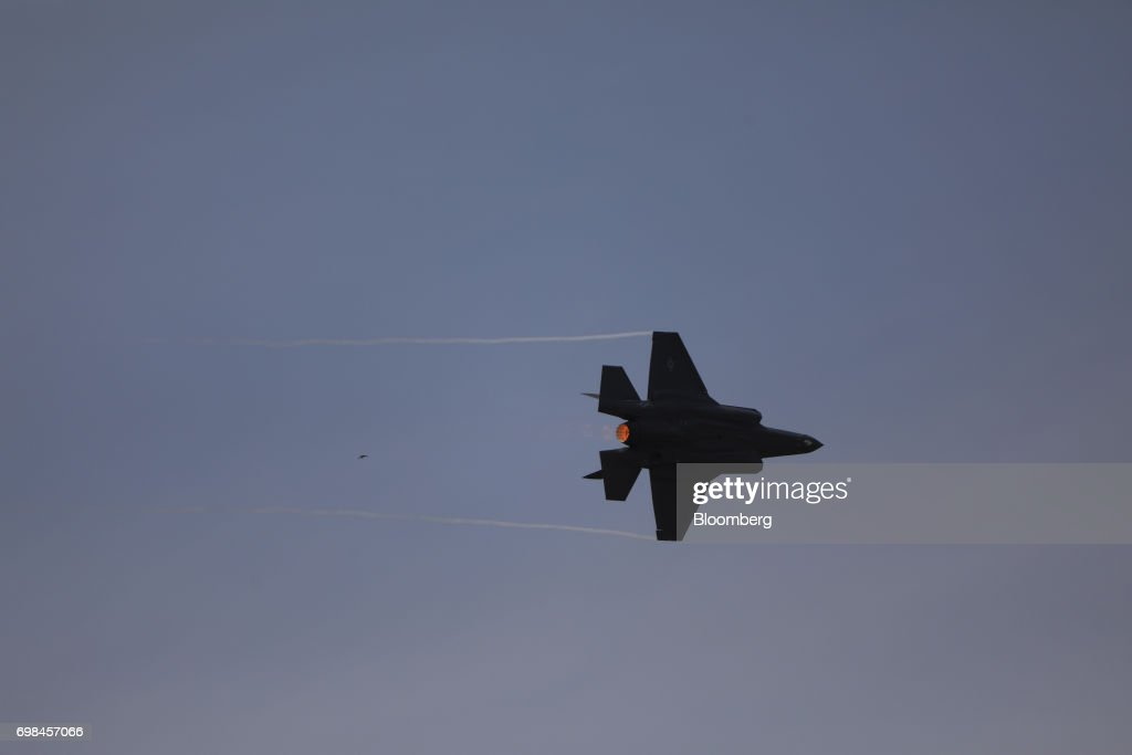 A F-35A fighter jet, manufactured by Lockheed Martin Corp., performs aerial maneuvers during a flying display at the 53rd International Paris Air Show at Le Bourget, in Paris, France, on Tuesday, June 20, 2017. The show is the world's largest aviation and space industry exhibition and runs from June 19-25. Photographer: Chris Ratcliffe/Bloomberg via Getty Images