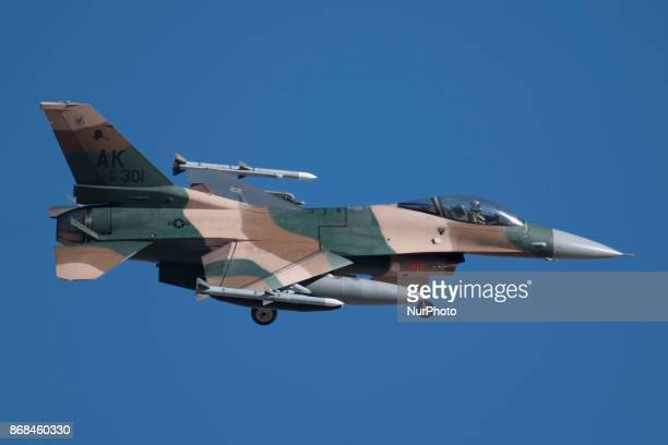 F16 fighter jet on approach to runway 21R at Nellis Air Force Base in Las Vegas Nevada on October 28 2017 during Green Flag airtoground military...