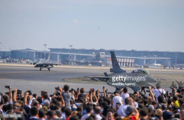 F 16 fighter jets are seen after accompanying Turkish President Recep Tayyip Erdogan's plane to the 'Teknofest Istanbul' Aerospace and Technology...
