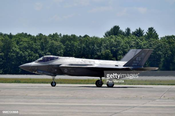 Fighter jets are seen at the 2018 Great New England Air and Space Show Media Day at Westover Air Force Base on July 13 2018 in Chicopee Massachusetts