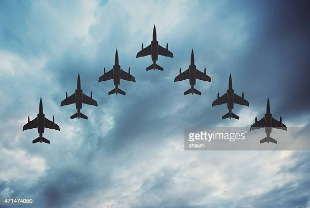 fighter jets in formation - air force stock pictures, royalty-free photos & images