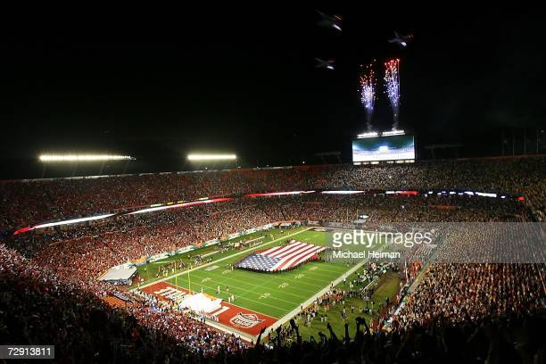 Fighter jets perform a fly over after the National Anthem before the 2007 FedEx Orange Bowl between the Louisville Cardinals and the Wake Forest...