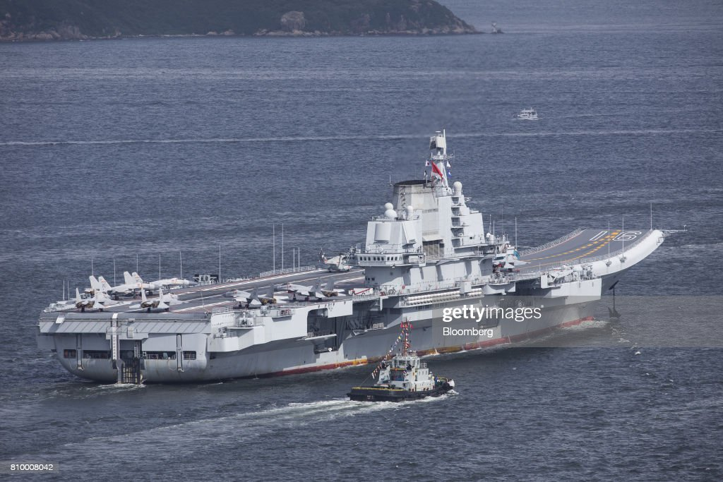 Arrival of the People's Liberation Army's Liaoning Aircraft Carrier : News Photo