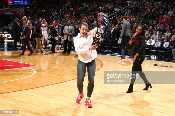 Fighter Joanna Jedrzejczyk poses with a Washington Wizards belt during the game against the New Orleans Pelicans on February 4 2017 at Verizon Center...