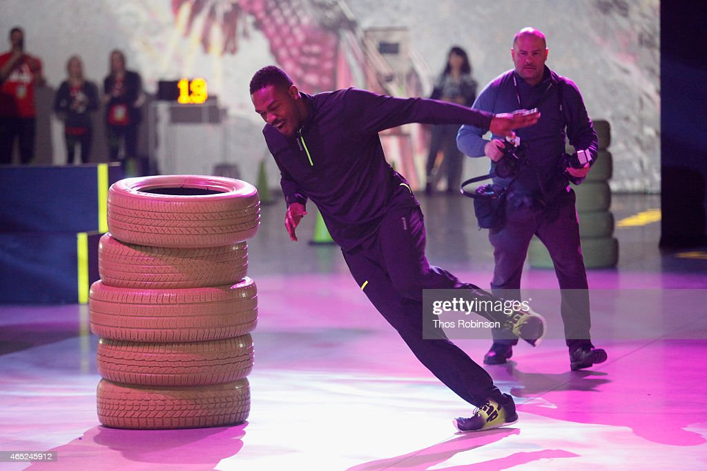 UFC fighter Jon Jones trials a pair of Reebok ZPump Fusion shoes at Reebok's launch of the revolutionary new ZPump Fusion at Spring Studios on March 4, 2015 in New York City.