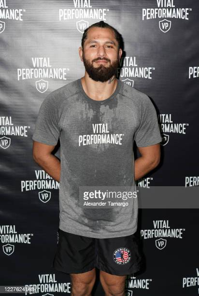 UFC fighter Jorge Masvidal is seen during the Vital Performance Tesla Exchange on July 15 2020 in Miami Florida