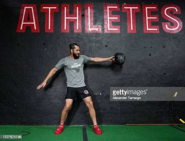 UFC fighter Jorge Masvidal is seen training during the Vital Performance Tesla Exchange on July 15 2020 in Miami Florida
