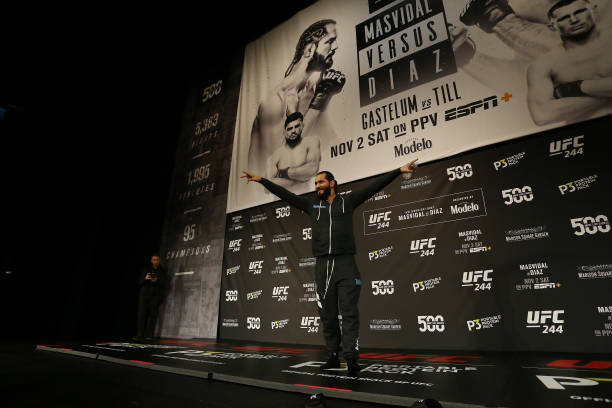 Fighter Jorge Masvidal reacts to the crowd during open workouts for UFC 244 at The Hulu Theater at Madison Square Garden on October 30, 2019 in New...