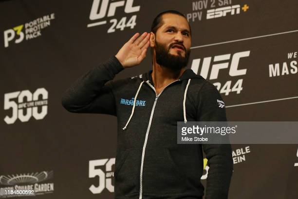 UFC fighter Jorge Masvidal reacts to the crowd during open workouts for UFC 244 at The Hulu Theater at Madison Square Garden on October 30 2019 in...