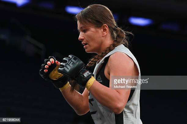 UFC fighter Karolina Kowalkiewicz takes part in UFC 205 Open Workouts at Madison Square Garden on November 9 2016 in New York City
