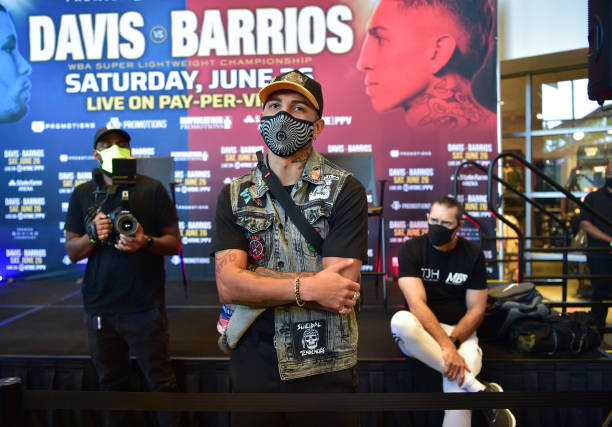 Fighter Mario Barrios attends a Press Conference for the WBA Super Lightweight Championship at State Farm Arena on May 20, 2021 in Atlanta, Georgia.
