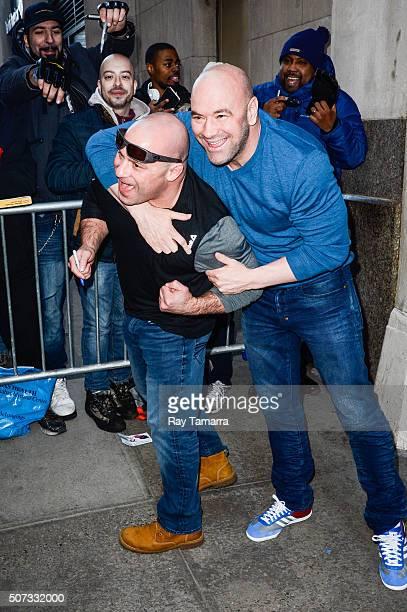 UFC fighter Matt Serra and UFC President Dana White enter the 'HuffPost Live' taping at the Huffington Post Studios on January 28 2016 in New York...
