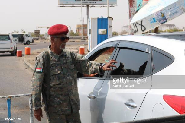 Fighter of the UAE-trained Security Belt Force, dominated by fighters of the Southern Transitional Council which seeks independence for south Yemen,...