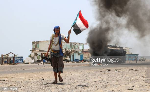 Fighter of the UAE-trained Security Belt Force, dominated by members of the Southern Transitional Council which seeks independence for south Yemen,...