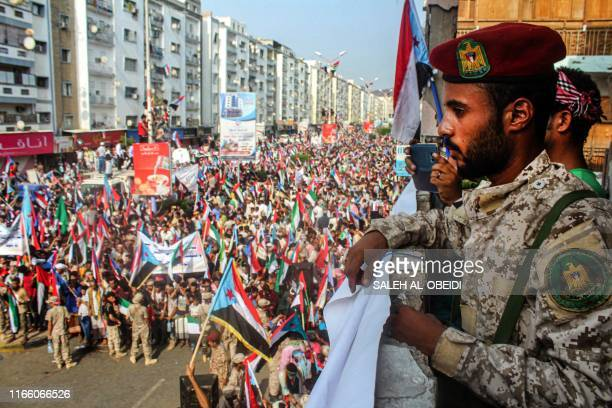 Fighter of the United Arab Emirates -trained Security Belt Force, dominated by members of the Southern Transitional Council which seeks independence...