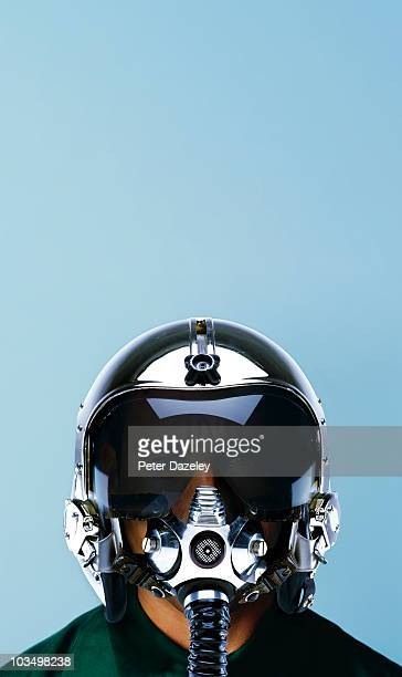 Fighter pilot in helmet