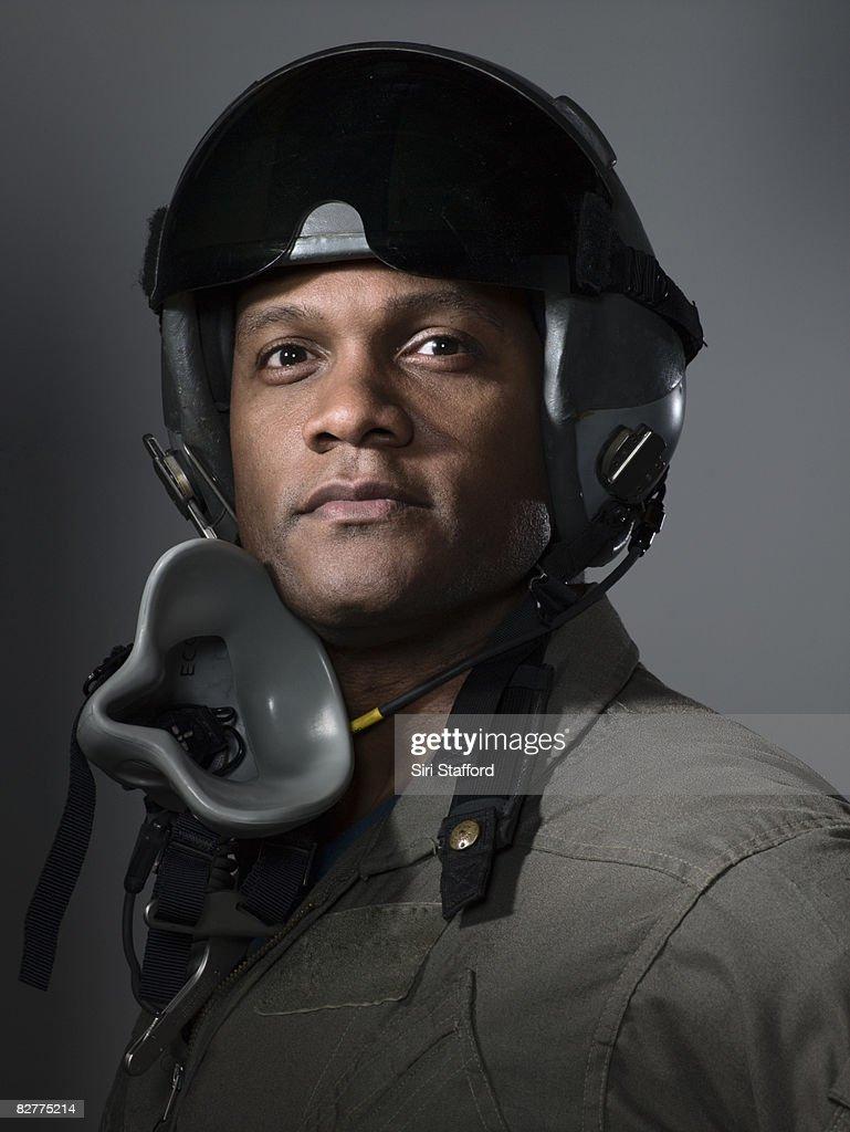 fighter pilot portrait, close-up : Stock Photo