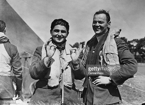 An RAF fighter station in England during the Battle of Britain World War II 16th August 1940 Two Polish pilots stationed with the RAF give the OK...