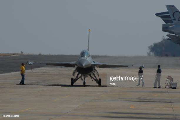 Fighter plane F16 at Aero India 2009 Asias premier air show at Air Force station Yelahanka in Bangalore Demand for Indian aerospace products and...