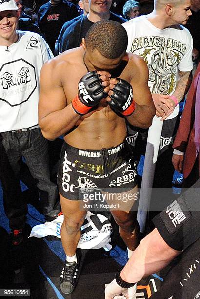 UFC fighter Rashad Evans gets prepared to enter the octagon for his fight against UFC fighter Thiago Silva during their non title Light Heavyweight...