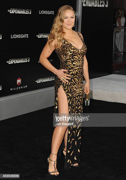 MMA fighter Ronda Rousey arrives at the Los Angeles Premiere The Expendables 3 at TCL Chinese Theatre on August 11 2014 in Hollywood California