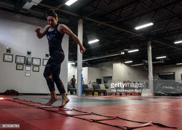 Fighter Sara McMann the 2004 Olympic women's freestyle wrestling silver medalist works out at Alliance Champions Training Center in Greenville South...