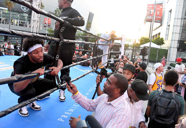 Fighter Shawn Porter answers questions from the media during an open to the public workout at LA Live on September 24, 2019 in Los Angeles,...