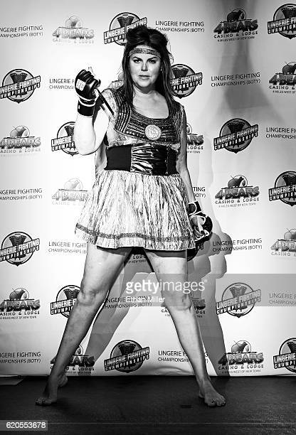 Fighter Stacey 'Full Contact' Lentz is introduced before her match against Karly 'Zuke' Zuker during 'Lingerie Fighting Championships 22 Costume...